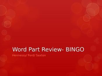 WORD PARTS BINGO REVIEW