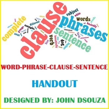 WORD-PHRASE-CLAUSE-SENTENCE: HANDOUT