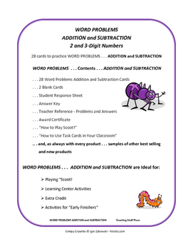 WORD PROBLEMS ADD & SUBTRACT | Creepy Crawlies Task Cards | Gr 3-4 MATH