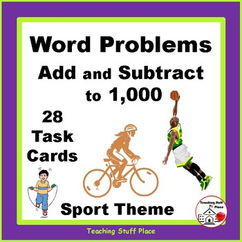 WORD/STORY PROBLEMS | ADD & SUBTRACT to 1000 | FUN SPORTS THEME | Gr 3-4 MATH