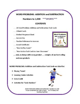 WORD/STORY PROBLEMS | ADD & SUBTRACT to 1,000 | FUN SPORTS THEME | Gr 3-4 MATH