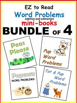 WORD PROBLEMS * Addition & Subtraction * BUNDLE of 4 * 4 EZ to Read Mini-books