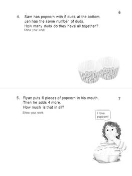 WORD PROBLEMS * Addition & Subtraction * Popcorn * MINI-BOOK * EZ to Read