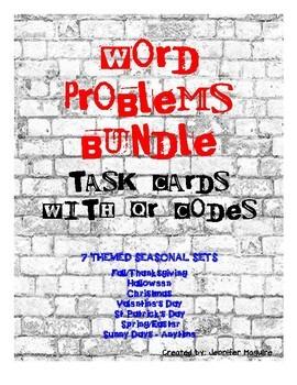 WORD PROBLEMS - SEASONAL TASK CARD BUNDLE - with QR codes