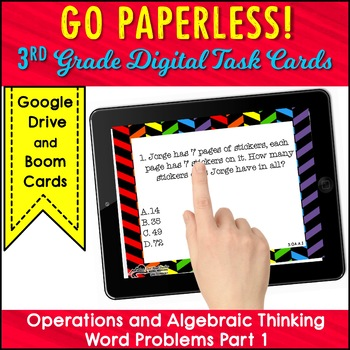 WORD PROBLEMS Task Cards 3rd Grade Math Operations and Algebraic Thinking PART 1