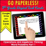 WORD PROBLEMS Task Cards 3rd Grade Math Operations and Alg