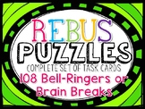 BACK TO SCHOOL BRAIN TEASERS WORD PUZZLES TASK CARDS - REBUS Puzzles