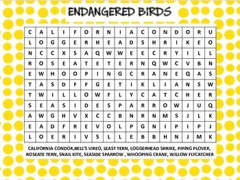 WORD SEARCH - BIRDS