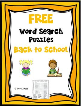 WORD SEARCH PUZZLES Back to School FREE