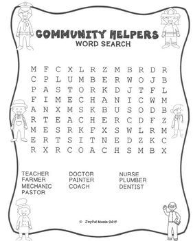 WORD SEARCH PUZZLES Community Helpers