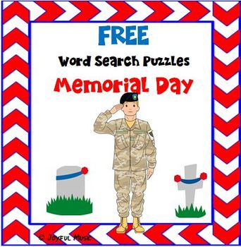WORD SEARCH PUZZLES Memorial Day FREE by Joyful Music | TpT