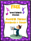WORD SEARCH PUZZLES Musical Terms Dynamics & Tempo FREE