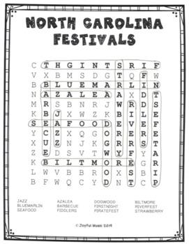 WORD SEARCH PUZZLES North Carolina Festivals FREE