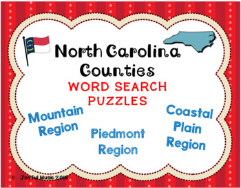WORD SEARCH PUZZLES North Carolina Counties REGIONS