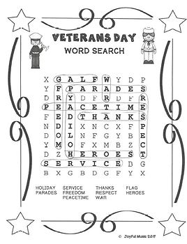 WORD SEARCH PUZZLES Veterans Day FREE