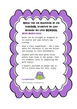 BACK TO SCHOOL WORD SEARCH - SCHOOL