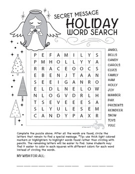 Christmas Word Search with Secret Message