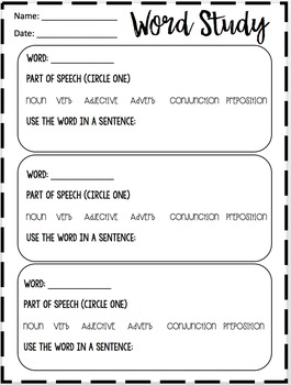 WORD STUDY: Activity sheet for ANY list