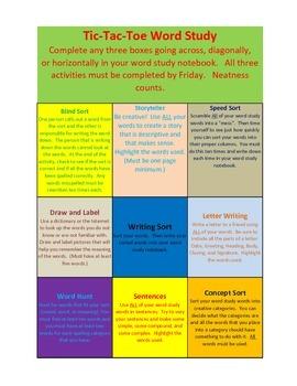 WORD STUDY HOMEWORK SHEET spelling tic tac toe
