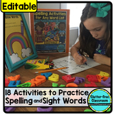 SPELLING ACTIVITIES for ANY Word List EDITABLE Clutter-Fre