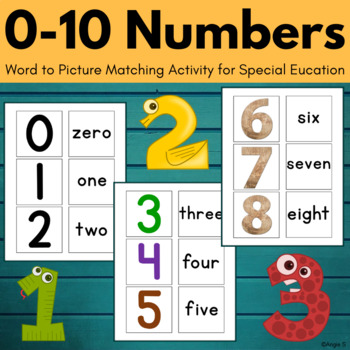 0-10 Numbers Word to Picture Matching Activity
