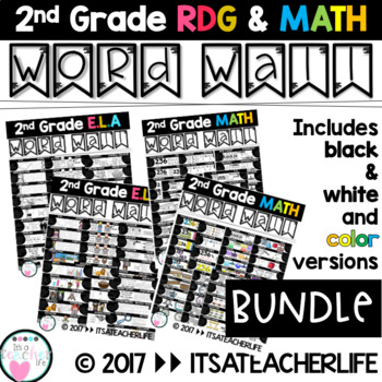 WORD WALL | BUNDLED Math & Rdg | 2nd Grade Vocabulary Cards