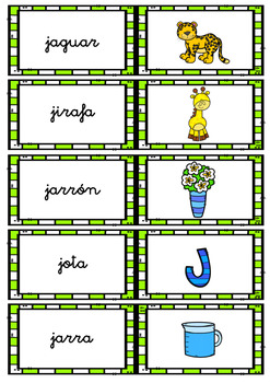 WORD WALL (consonants) in Spanish / MURO DE PALABRAS- consonantes (B-J)