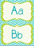 WORD WALL HEADERS: Letters & Numbers (Blue, Green, & White Polka Dots)