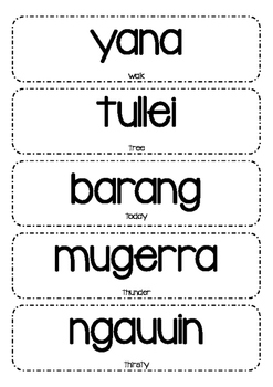 WORD WALL - Indigenous Australian Words with Translations