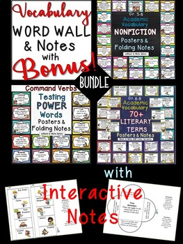 WORD WALL NONFICTION, FICTION, TESTING WORDS, INTERACTIVE NOTES & BONUS!