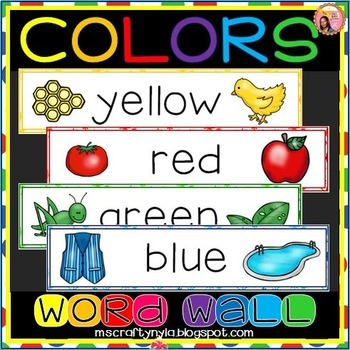 Colors Word Wall - Illustrated