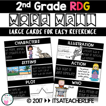 WORD WALL | READING | 2nd Grade Vocabulary Cards (LARGER VERSION)