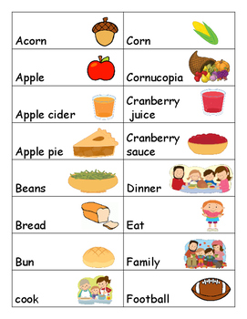 WORD WALL - THANKSGIVING [APPROX. 40 WORDS]