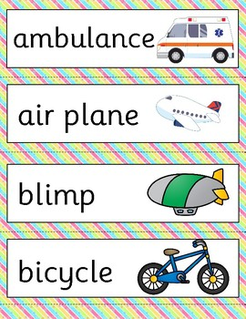 WORD WALL - TRANSPORT VEHICLES