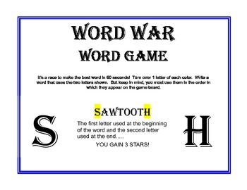 WORD WAR Game: Spelling, Thinking Skills, Cooperative Play, and MORE!