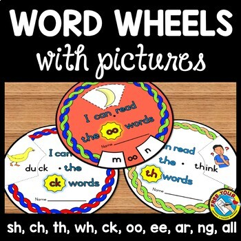 PHONICS ACTIVITIES: PHONICS WORD WHEELS WITH PICTURES: PHONICS PRINTABLES