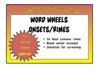 WORD WHEELS for ONSETS and RIMES - 50 sets