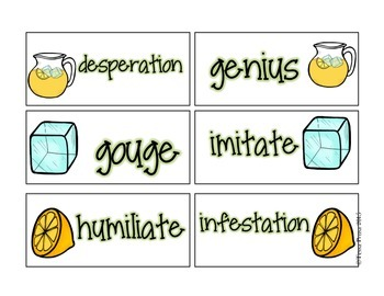 WORD WORK CENTERS: THE LEMONADE WAR