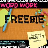 WORD WORK Freebie from Bundle of Upper Grades