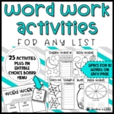 WORD WORK Spelling Activities for ANY LIST   Literacy Cent