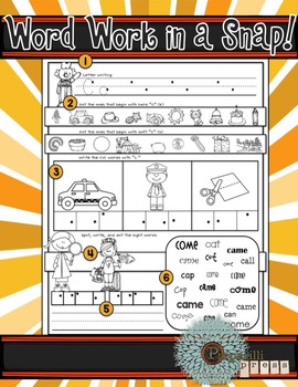 WORD WORK in a SNAP {Letter Sounds; CVC Formation; Sight Words}
