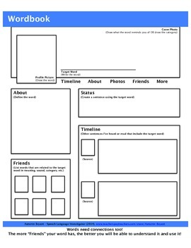 WORDBOOK: A Facebook-style Word-web Graphic Organizer w/ 100+ Tier 2 Vocab Words