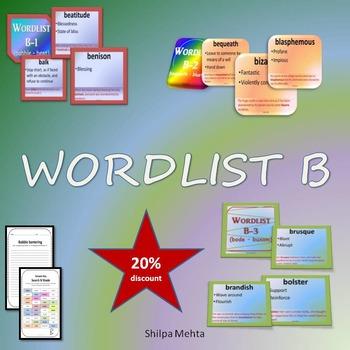WORDLIST B (with sentences)