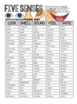 word lists detailed and descriptive writing