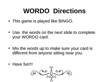 WORDO 5th grade science vocabulary review game