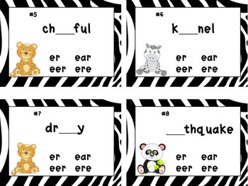 WORDS  with  /er/ & /eer/ Spelling Task Cards and Sort