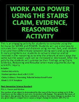 WORK AND POWER USING THE STAIRS CLAIM, EVIDENCE, REASONING ACTIVITY