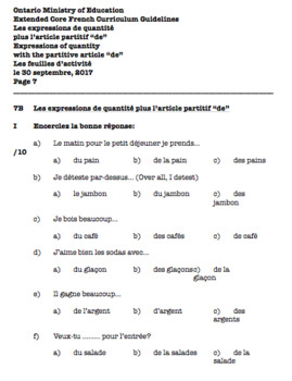 WORKBOOK - DOCX - GR. 7 - CORE FRENCH - ONT. MIN. OF ED. - APRIL 15, 2018