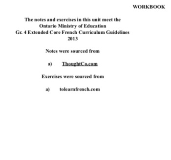WORKBOOK - PAGES - CORE FRENCH - Gr. 4 - Ont. Min. of Ed. - April 8, 2018