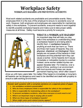Career Readiness, WORKPLACE SAFETY,  vocational, career lesson plans